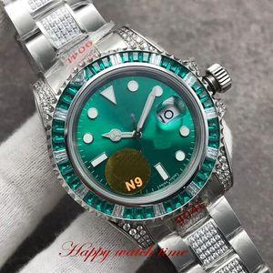 Изготовленная на заказ версия 116610LV-97200 ETA2836 автоматические механические сапфировые мужские часы Big Date Dial Diamond Silver Case 904l Steel Band Watches