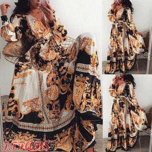Sexy Frauen Langarm V-Ausschnitt Floral Boho Vintage-Maxikleid Ferien-Strand-Kleid