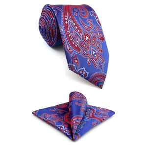 F1 Royal Purple Paisley roja corbata para hombre Moda Xlong boda Lazos para Hanky Conjunto masculino