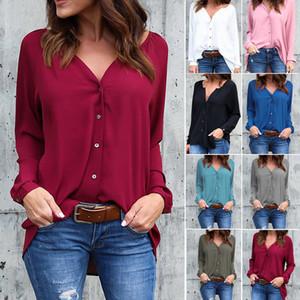 T-shirt en mousseline de soie pour femmes Tee Shirt col en V bouton tourbillonné pour femmes en mousseline de soie chemisiers à manches longues et à point ouvert en couleur unie 43