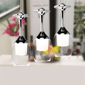 الأوروبي أدى النبيذ الزجاج قلادة مصابيح لشريط متجر المطبخ الإضاءة الإضاءة 5 واط أدى ضوء الثريا haning الصمام اللمعان