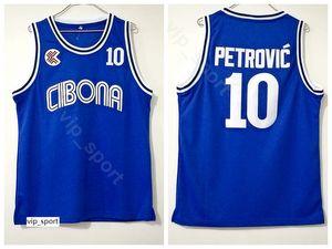 Cibona 자그레브 대학 Drazen Petrovic 저지 10 남성 팀 컬러 블루 대학 Petrovic 농구 저지 유니폼 통기성 좋은 품질