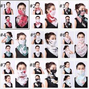Las máscaras de protección solar ciclo al aire libre del cuello de la máscara gasa del collar de la manera del verano de la cubierta de la cara impresa de conducción a prueba de polvo de la bufanda abrigo de la cabeza pañuelos HN465