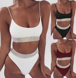 Dama Traje de baño sexy Cintura alta Bikini Verano Playa Piscina Color sólido Brillante Artículo Trajes de baño adjuntos Conjunto de dos piezas