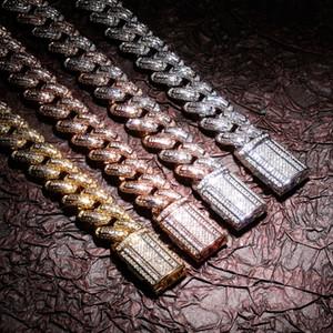 14 millimetri di Hip Hop ha ghiacciato fuori la pietra della CZ Bling Miami Curb Cuban collane catena a maglia personalità può aprire Blocco Uomini Rapper collana Bling