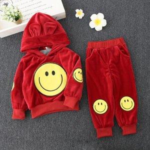 Winter Kinder Kleidung Mädchen Jungen Gesicht Pullover + Hosesatz 2 Stück Kinder lange Ärmel Samt Kleidung Lächeln Anzug 2 Farben