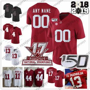Coutume Alabama Crimson Tide 2019 Football Tous Numéro Nom Noir Blanc Rouge 11 Henry Ruggs III Tagovailoa Jeudy Waddle Mac Jones Jersey 150E