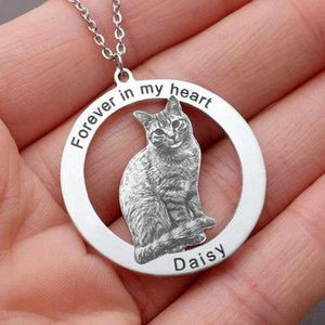 Personalized Cat Photo Necklace for Pet Lover Custom Pet Picture Necklace Engraved Name Photo Pendant Gift for Her Owner
