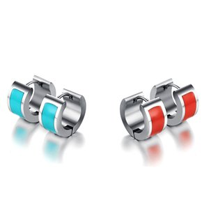 Ethnic Earring Colorful Resin Daily Gift Brincos Jewelry Stainless Steel Stud Earrings for Women
