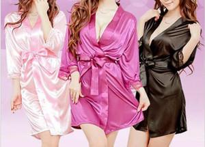 Мода Solid Color Satin сексуальное кружевное белье женщин Silk Lace Robe V-образным вырезом платье куклы платье Nightdress Пижамы Robe