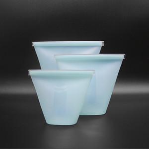 3pcs 실리콘 식품 저장 가방 신선한 그릇 냉장고 주최자 재사용 가능한 스탠드 업 Zip 주머니 과일 야채 컵 가방 인감