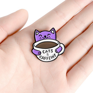 Purple Cat Coffee Cup Brooch Kitty Pet Kitten Coffee Pin Animal Lovers Badge For Women Men Funny Clothes Bag Lapel Pin Jewelry Gift