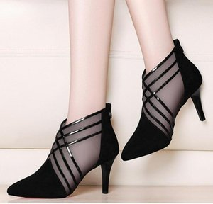 2020 new arrived woman mesh ankle boots for women summer 10cm thin heels boots sandal ladies pointed toe shoes sandals sandalias