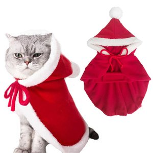 Christmas Pet Cat Dog Hoodied Sweatshirts Dog Clothes Winter Warm Costume Cloak Dress Thicken Clothes with Hat Cosplay product