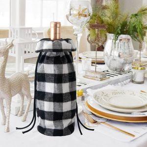 plaid Bouteille Sac Bouteille de vin rouge de Noël Décor Wine Restaurant couverture Checker noir et blanc Cache-bouteille de vin accessoires de bureau Décor FFA3032