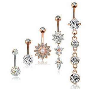 5pcs set Sexy CZ Dangle Belly Bars Belly Button Rings Fashion Surgical Steel Flower Rhinestone Body Jewelry Navel Piercing