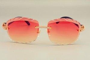 نظارات شمسية خالية صغيرة DHL Visor Natural Shipping 8300715 Sun Wood Diamond Fashion Engraving 2019 Lens Lens النظارات الشمسية عدسة 3.0 DLLN