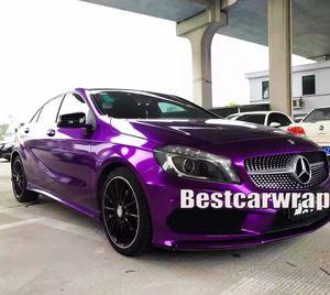 Фиолетовый глянец конфета Metallic Винил WRAP Всего автомобили Wrap фольга с воздухом беспузырькового Низкой клейкости клея первоначального качество 3M 1.52x20m / Ролл (5x65ft