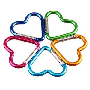 Renkli Anahtar Yüzükler Yenilik Öğeleri CCA11221-A 1600pcs Seyahat için Kalp Şeklinde Karabina Alüminyum Alaşım Açık Kanca Toka