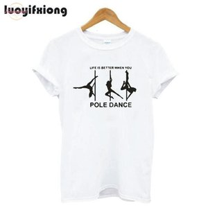 Moda Pole Dance Impresso Mulheres camiseta de manga curta camiseta Femme Casual Harajuku Camiseta Mulheres Tops Camisas