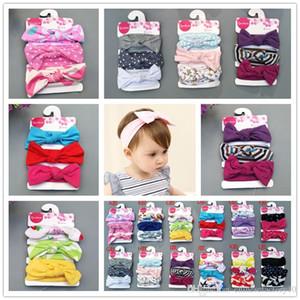Baby Häschen-Ohren Stirnband 3pcs / set Bowknot Baumwollstirnband-Kind-Haar-Accessoires Cotton Mädchen Bandanas Geburtstagsgeschenk Boutique