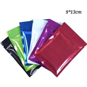 200 unids 9 * 13 cm (3.54 * 5.11 pulgadas) varios colores cierre de cremallera con cremallera cerradura mylar brillante paquete de bolsas planas a prueba de humedad artesanía bolsas de embalaje