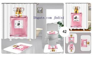 화이트 간단한 향수 병 커튼 현대 유럽과 미국에서 유행 화장실 세트 미끄럼 방지 욕실 카펫 샤워 커튼