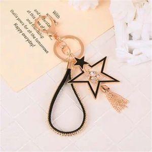 Korean car key chain fine tassel star design four-leaf clover key pendant lovely female bag pendantFob ST484