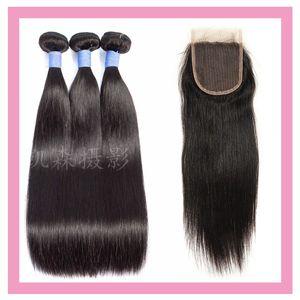 Бразильский Девы волос Silky Straight 3 Связки С 4X4 шнурка Закрытие младенца оптовой продажи волос Закрытие С 3 Связки Natural Color