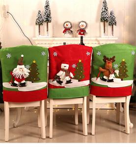 Encosto Cadeira de Natal da tampa derrapagem de Santa Snowman cervos Jantar Tabela Decorações Home Chair Back Cover Ano Novo Decor JK1910