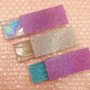 Hot vente Cils Emballage 10pcs / lot strass Lash cas pour 3d 4d 6d 5j Lashes réguliers Mink