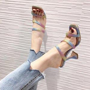 Неоновый цвет ПВХ прозрачный кристалл Перспекс чашка каблук лодыжки пряжка ремень Радуга элегантное платье обувь сексуальные летние сандалии на высоких каблуках
