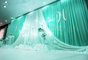 3 * 6 m Düğün Parti Sahne Kutlama Arka Plan Saten Perde Örtüsü Ayağı Tavan Zemin Evlilik dekorasyon Peçe