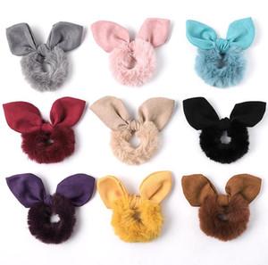 Cabelo Plush Scrunchies Tie Acessório rabo de cavalo titular Bandas Scrunchy Cabelo Elastic laço do cabelo Rabbit Fur Headwear Princesa Cabeleireiro de Mulheres