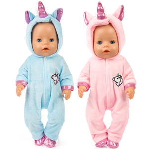 "Doll clothes for 43cm born Baby doll coat unicorn hoodie set 17"" reborn Christmas clothes Unicornio outfit for doll"