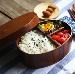 Japonés Bento fiambrera cajas de madera hechos a mano caja de madera natural de sushi envase de alimento tazón vajilla de cocina herramientas ECO amistoso LXL740-1