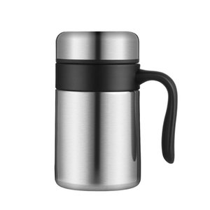 Stainless Steel Thermos Mugs Office Cup Handle Lid Thermal Insulation Tea Mug Vaccum Cup Office