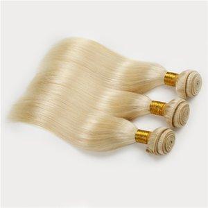 Honey Blonde Russian Hair Weave Extebsions # 613 Biondo Capelli Lisci 3 pz / lotto Estensioni Dei Capelli Umani Platino Biondo Trame