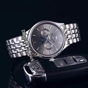 Nouveau Master Control Q149342 Daydate Moon Phase automatique Mens Watch cadran gris Bâton Marqueurs Bracelet en acier inoxydable bon marché Hi_Watch E131f6
