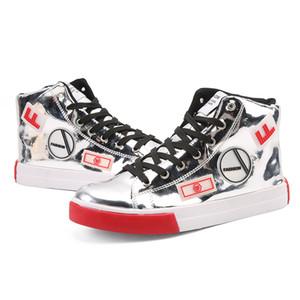 Scarpe Sneakers XPay primavera e in autunno degli uomini di moda Scarpe Uomo lucida pelle verniciata alte Sneakers Street Fashion