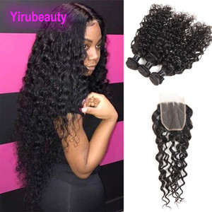 Brasilianer 100% unverarbeitete menschliche Haare Wasserwelle 3 Bündel mit 4 x 4 Spitzenverschluss Wasserwelle Reines Haarverlängerungen FEFTS mit Schließung
