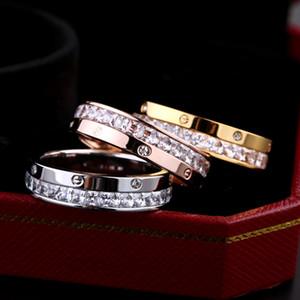 Vente en gros de bijoux de mode commerce et diamant bague à moitié diamant bague de luxe de luxe bijoux bijoux femmes bagues de mariage