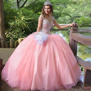 Beauty 2020 New Pink Ball Gown Crystal Quinceanera Dresses V-neck Beading Ruffles Sweet 15 Dress Puffy Skirt Plus Size Prom Dress for Junior