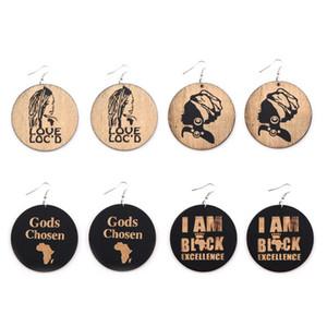 Nuova rotonda elegante legno Orecchini Stampato Figura orecchini lettera African Women Faces ciondola l'orecchino Hooked sospensione Eardrop signore Gioielli Regali