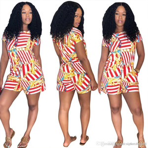 Women Female Clothes Striped Shorts Jumpsuits Summer Red Gold Chains One Piece Suits Rompers