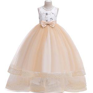 2019 Yaz Çocuklar Uzun Elbise Kız Düğün Çiçek Kız Elbise Boncuklu Işlemeli Yay Prenses Elbise Parti Gençler Giysileri Y19061303