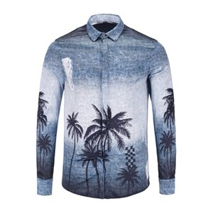 NEW 2019 spring and autumn Harajuku Medusa Coconut tree gradient printing shirts Fashion Retro floral sweater Men long sleeve tops shirts
