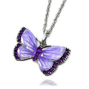 European and American Retro Oil Drop Painting Diamond Butterfly Necklace Alloy Fashion Long Sweater Chain