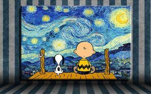 فان جوخ ليلة النجوم تشارلي براون الرسم مزدوج جدار الفن ديكور باليد HD لوحات زيت طباعة على قماش لغرفة المعيشة 190916