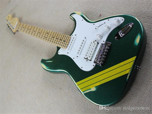 Hot Sale Factory Custom Electric Guitar with green Body,Maple Fretboard,White Pickguard,Can be Customized